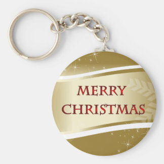 Merry Xmas Basic Round Button Key Ring