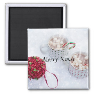 Merry Xmas - Chocolate on the snow Square Magnet