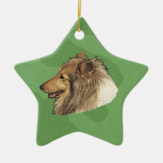 Merry Xmas Collie Ceramic Ornament