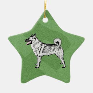 Merry Xmas Elkhound Ceramic Star Decoration
