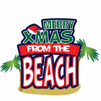 MERRY XMAS FROM THE BEACH MAGNET PHOTO SCULPTURE MAGNET