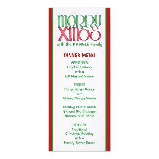 Merry X'mas green Christmas Dinner Menu 4x9.25 Paper Invitation Card