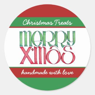 Merry Xmas green Round Kitchen Jar Label