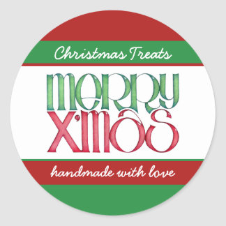Merry Xmas green Round Kitchen Jar Label Round Sticker