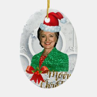merry xmas Hillary clinton Ceramic Ornament