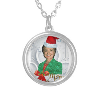 merry xmas Hillary clinton Silver Plated Necklace