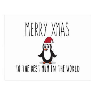 Merry Xmas Penguin Christmas Card Best Mum Postcard