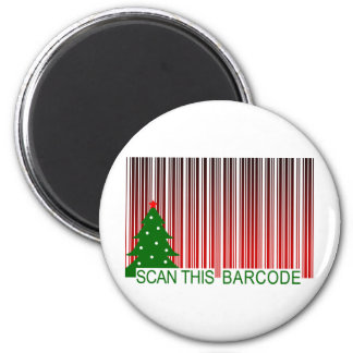 MERRY XMAS : scan this barcode 6 Cm Round Magnet