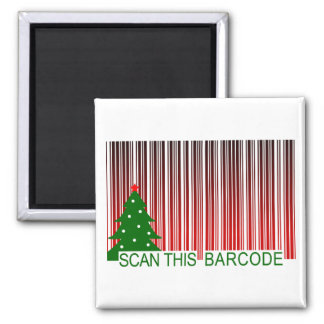 MERRY XMAS : scan this barcode Square Magnet