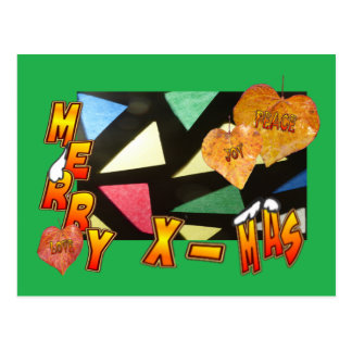 Merry Xmas Stained Glass & Leaves Green Postcard
