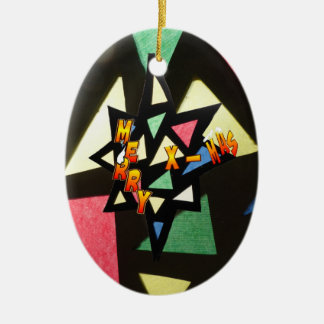 Merry Xmas Stained Glass Star Oval Ornament