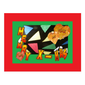 Merry Xmas Stained Glass with Leaves Red Postcard