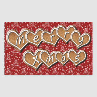 Merry Xmas text on gingerbread hearts Rectangular Sticker