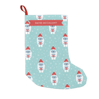 Merry Xmas Yeti Pattern - Custom Name Small Christmas Stocking