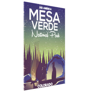 Mesa Verde National Park Camping travel poster Canvas Print
