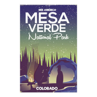 Mesa Verde National Park Camping travel poster Personalized Stationery