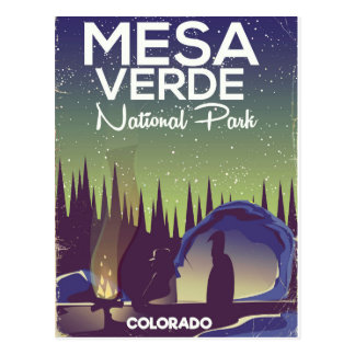 Mesa Verde National Park Camping travel poster Postcard