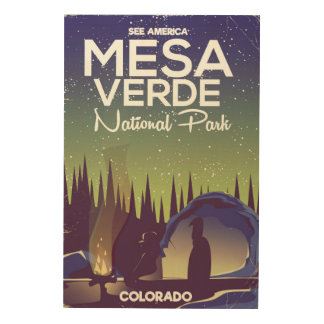 Mesa Verde National Park Camping travel poster Wood Prints