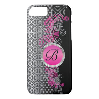 Mesh Steel with Circular Silver and Pink on Black iPhone 8/7 Case