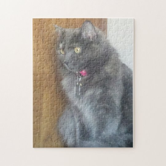 Mesmerised Grey Cat Jigsaw Puzzle