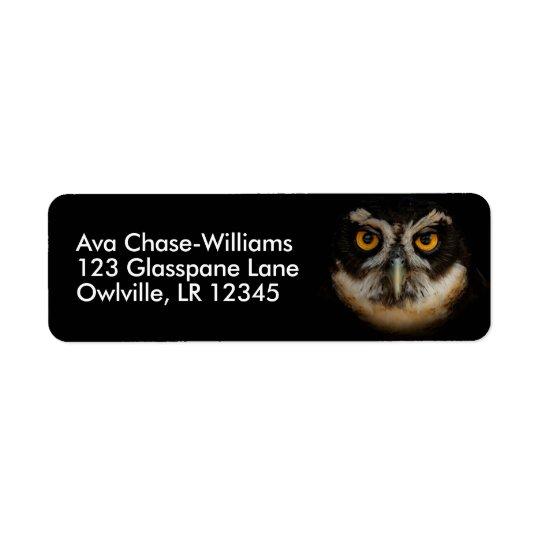 Mesmerising Golden Eyes of a Spectacled Owl Return Address Label
