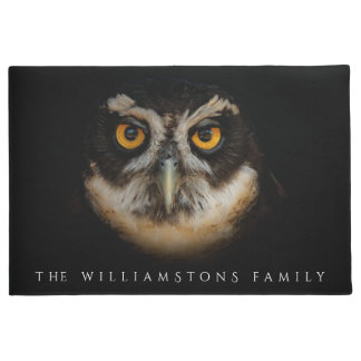 Mesmerizing Golden Eyes of a Spectacled Owl Doormat