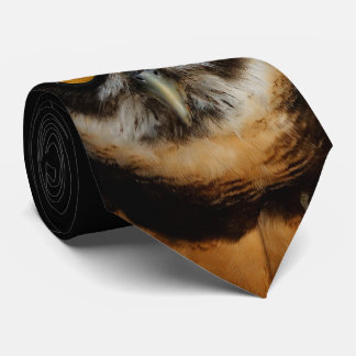Mesmerizing Golden Eyes of a Spectacled Owl Tie