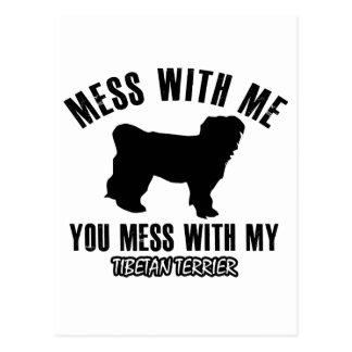 Mess with my Tibetan Terrier Postcard