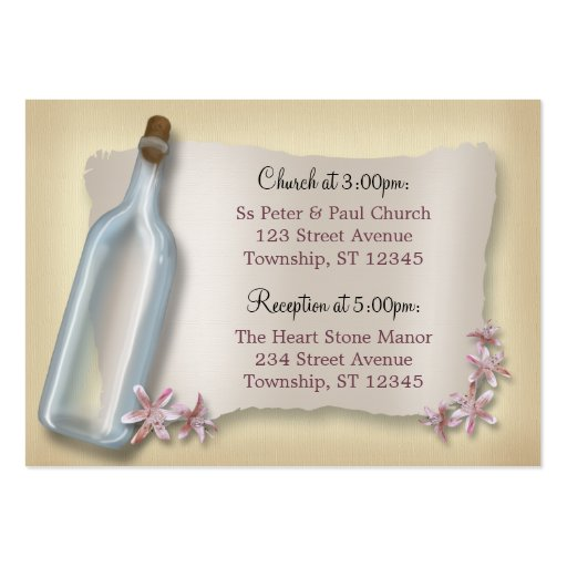 Message from a Bottle Wedding Address Cards Business Card