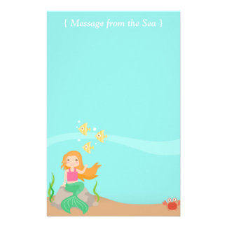 Message from the Sea, Mermaid with Ocean Animals Stationery Paper
