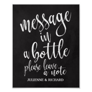 Message in a Bottle 8x10 Chalkboard Wedding Sign