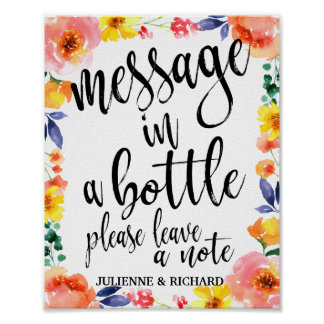 Message in a Bottle 8x10 Floral Guest Book Sign