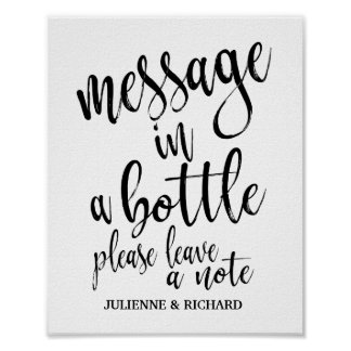 Message in a Bottle 8x10 Wedding Guest Book Sign