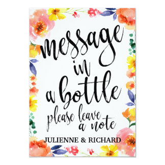 Message in a Bottle Affordable Floral Wedding Sign Card