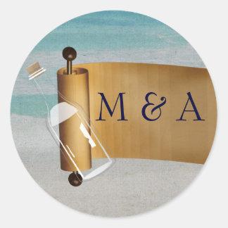 Message in a bottle Beach Wedding Classic Round Sticker