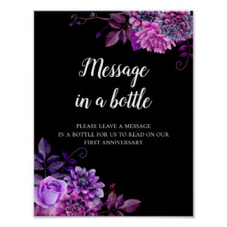 Message in a bottle print Black and purple wedding