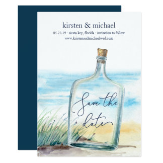 Message in a Bottle Save the Date Card
