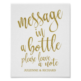 Message in a Bottle Sign Glitter 8x10 Wedding Sign