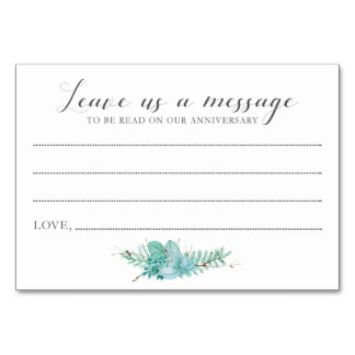 Message to Bride and Groom Succulent Cards Table Card