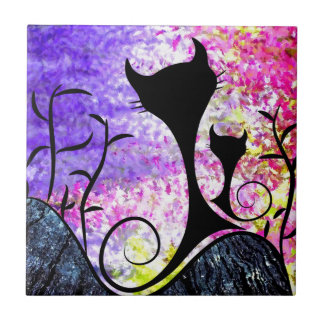 Messemios - black cats small square tile