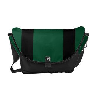 Messenger Bag, Black & Green Racing Stripes Commuter Bag