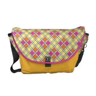Messenger Bag Bright Yellow & Pink Plaid