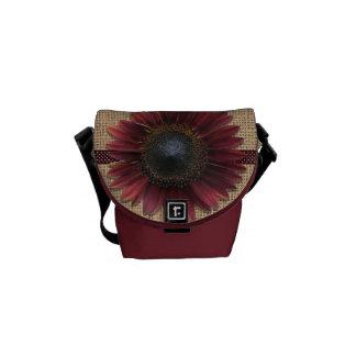 Messenger Bag - Burlap and Bordeaux Sunflower