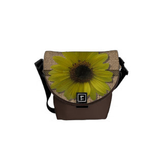 Messenger Bag - Burlap and Rain-Drenched Sunflower