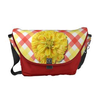 Messenger Bag - Candy Stripe Zinnia on Lattice
