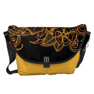Messenger Bag Floral Doodle Gold G523