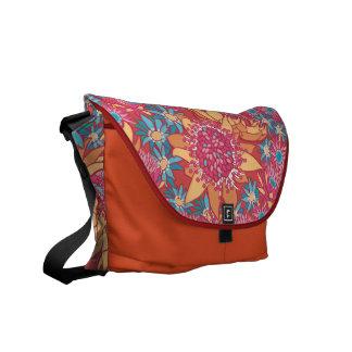 Messenger Bag Floral Pattern Blue Pink & Red