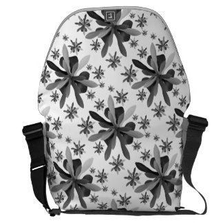 Messenger Bag-Large with Stylized Flower 1 Commuter Bag