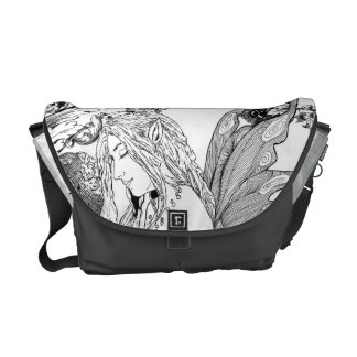 Messenger Bag-Med. Peony Fairy Commuter Bag