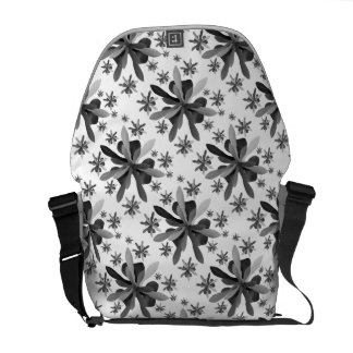 Messenger Bag-Medium with Stylized Flower 1 Commuter Bags